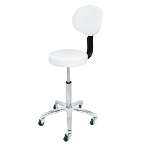 Deo Beauty Technicians Stool With Back Rest in White
