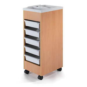REM Stadium Lightwood Trolley with White Trays